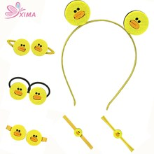 XIMA 1PC Retail Mix Style Hair Bows Cute Ducks Smiling expression Hairbands Headband and Hairpins Yellow Color Hair Accessories(China)