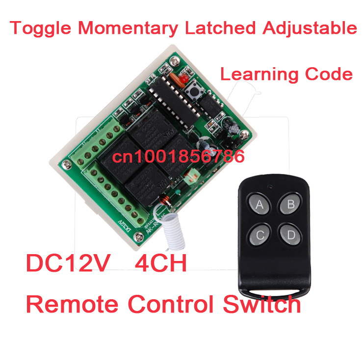 NEW! DC12V Momentary Toggle Latched RF Remote Control Switch System . 4 Relay CH Wireless Receiver&amp;TransmitterLED SMD ON OFF<br><br>Aliexpress