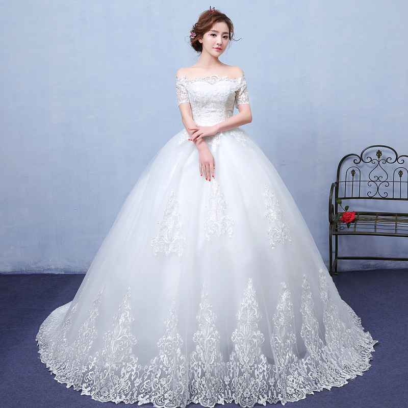 Do Dower Luxury Off The Shoulder Wedding Dress Fashion Simple Off White Princes Lace Up With Train Wedding Gown Robe De Mariee L