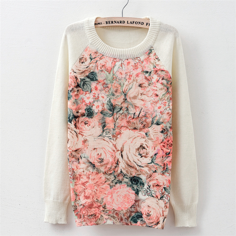 Sweater fashion 18 women's rose printing fashion warm new Sweater Long Sleeve Stretch Pure Sweater Top Fall Winter Pullove 24