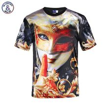 Mr.1991INC men's glossy rayon t shirt 3d print golden mask beauty flowers t-shirt slim stage performance t-shirt tops