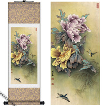 Home Decor Peony Silk Chinese ink watercolor flower and Two Birds painting art canvas wall damask picture framed scroll painting