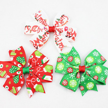 50pcs Xmas hair bobbles Ribbon Hair Bows WITH CLIP & Elastic Christmas Party Decoration Boutique Hair Bows HD3291
