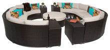 2015 Garden Feeling 11 Piece Outdoor Wicker Patio Furniture Round Sofa Set