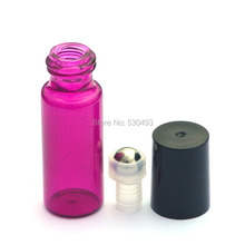 3pcs Hot 5ml Empty Roll Perfume Glass Rose Bottles Essential Oil Refillable Roller Bottles with Metal Ball bottle
