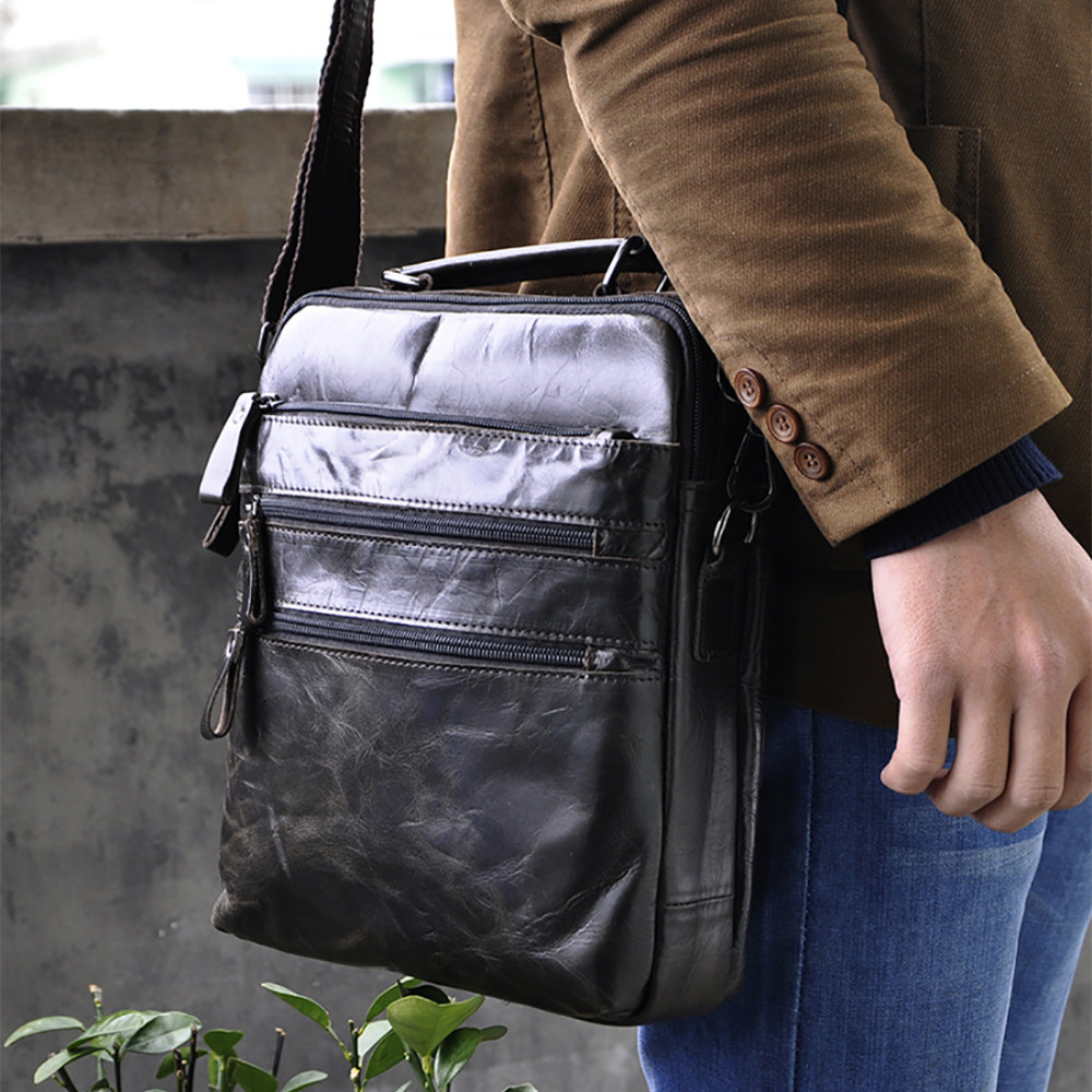 Oil Wax Genuine Leather Black Business Tote Handbag Men Vintage Trend Cross Body Bags Famous Brand Messenger Sling Shoulder Bag<br>