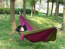 Portable Outdoor Traveling Camping Parachute Nylon Fabric Double Hammock Durable & Colorful 275*140cm(China)