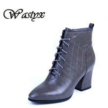2017 high quality boots women casual lace up shoes woman womens ladies high heels ankle boots spring autumn fashion footwear(China)