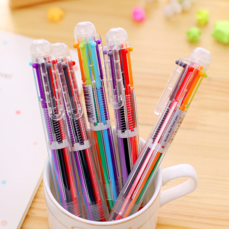 QSHOIC 50PCS/set Lovely Multi-color Ball-point Pen Stationery Multifunctional Press Ink Color or 6 In 1 Multi Colours Ball Pen<br>