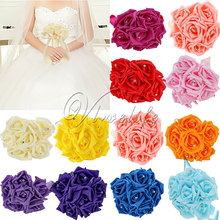 Newest Wedding Bouquet Bride Bridesmaid Girlfriend Artificial 6 Foam Rose Garland Decor Supply L(China)