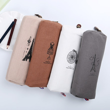 1PC Fashion Retro Linen Pencil Bag Paris Style Stationery Storage Bag Office School Supplies 4 Color Available