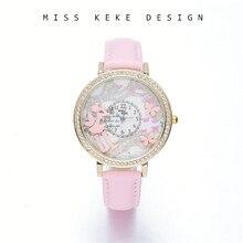 2018 nueva llegada 3D arcilla lindo mini mundial relojes florales señoras  mujeres cuarzo cuero relojes de pulsera 40mm Hada del . ee81449a0fec