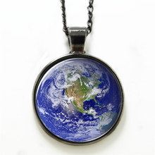 10pcs/lot Earth necklace,a beautiful Planet in the Cosmos Artist necklace Print Photo blue star Jewelry necklace(China)