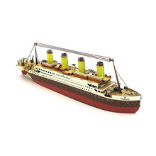 Colorized Titanic Boat model laser cutting 3D puzzle DIY metal spacecraft jigsaw birthday gifts media of communication toys