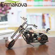 ERMAKOVA 5 Styles Vintage Motorcycle Model Retro Motor Figurine Iron Motorbike Prop Handmade Boy Gift Kids Toy Home Office Decor(China)
