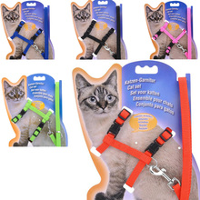 Cat Harness And Leash Hot Sale 4 Colors Nylon Products For Animals Adjustable Pet Traction Harness Belt Cat Kitten Halter Collar(China)