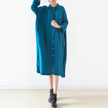 Solid Oversized Midi Shirt Dress Women Long Sleeve Shift Dresses Robe Femme Vestido White Dresses Plus Size one piece Gown