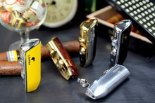 COHIBA Accessories Pocket Quality Metal Snake Mouth Shape Butane Gas Windproof 3 Torch Jet Flame Cigarette Cigar Lighter W Punch
