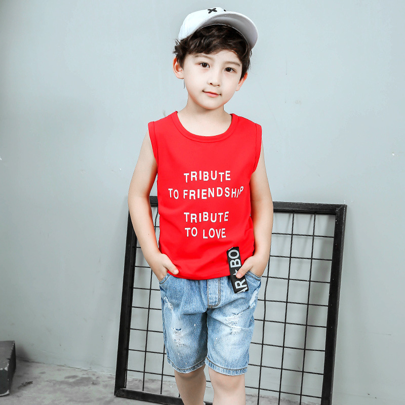 Summer Childrens Garment New Catamite Korean Red Weave Bring Vest Suit Children Sleeveless Two Pieces Kids Clothing Sets<br>
