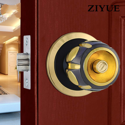 Free Shipping  Interior Solid  Bedroom Wooden Door Ball Lock Pure Copper Cylinder Spherical Door Lock<br>