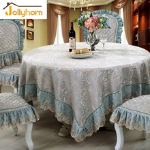 European Jacquard Round Tablecloth Embroidery Lace Dining Table Cover Square Tea Table Cloth Champagne/Aqua Blue Chair Cover