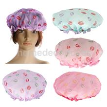 Waterproof Large Bath Shower Cap Women Bathing Hat Caps for Long Hair - Purple Red Pink Blue(China)
