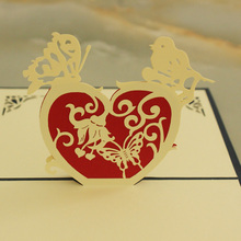 Butterfly Heart Love Card 3D Pop-up Heart Valentines Card Wedding Invitation Cards