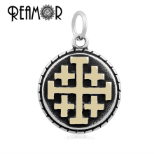 REAMOR Retro Gold-color 316l Stainless Steel Compound Cross Floating Dangle Charms Lobster Clasp Necklace Pendant Wholesale(China)