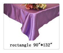 "Free shipping rectangle tablecloth size 90""*132"" color purple for wedding decoration/ table cloths"