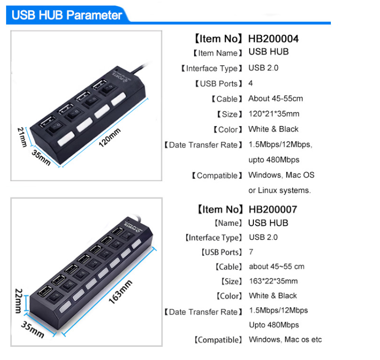 Micro USB Hub 2.0 Multi USB Port 4/7 Ports Hub USB High Speed Hab With on/off Switch USB Splitter For PC Computer Accessories 1