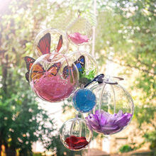 Home Hanging Decors 10 pcs Clear Acrylic Craft Balls 2 Part Sphere Baubles Christmas Candy Ball Wedding Party Decorations(China)