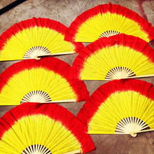 Red Yellow Gradient Flame Fan Veil Real Silk Belly Dancing Fan Church Performance  Customized Size Color Service Free Shipping