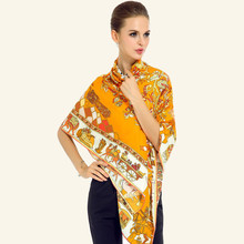 I0NASI Twill Silk Women Scarf 130*130cm European Vintage Horse Totem Tree Print Square Scarves Brand Quality Gift Luxury Shawl(China)