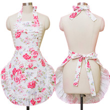Home Kitchen Aprons For Women Canvas Lace Flowers Cooking Hairdresser Salon Pinafore Apron Dress Princess