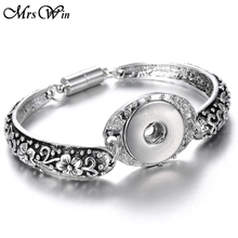 Silver Snap Bracelet Bangles 18mm Snap Buttons Jewelry 10 Designs Flowers Bracelets Snap Jewellery Snap Buttons 18mm Snaps