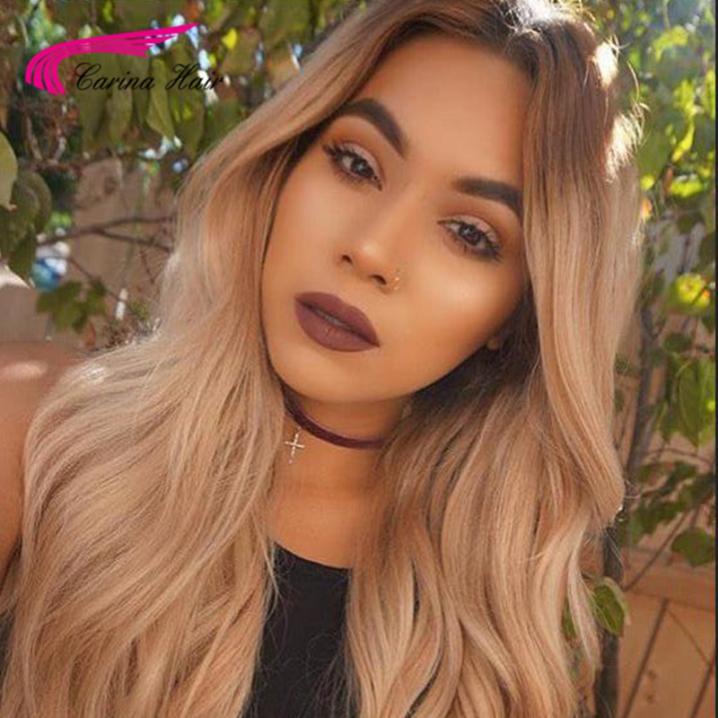 150% Malaysian Virgin Human Hair T4#/27# Lace Front Wigs with Middle Part Full Lace Human Hair with Baby Hair Glueless Wigs  <br><br>Aliexpress