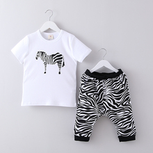 Zebra Casual Boys Summer Clothes Kids Clothing Sets T Shirts+Half Pants Trousers Baby Outfits T1/444DAE