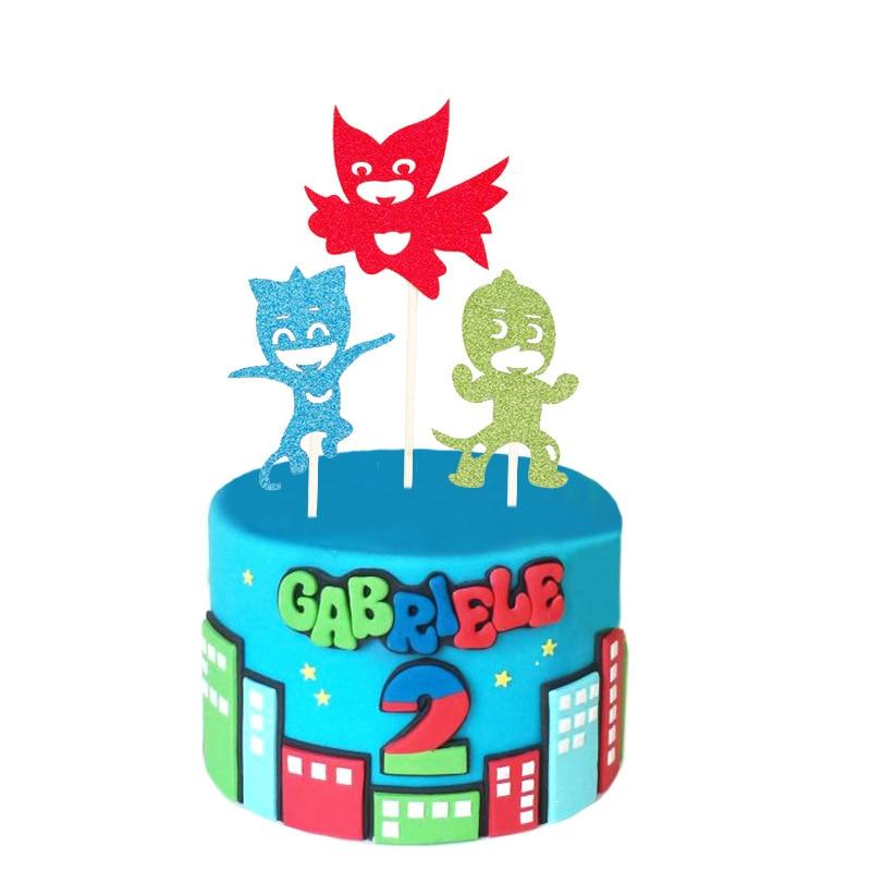 Cupcake Topper PJ Masks Cartoon Cake Flags Paper Straw For Wedding Birthday Party Cake Baking Decor Supplies Xmas DIY New Year