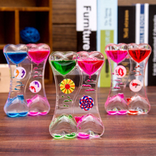 Floating Color Glass Hourglass Clock Double Heart Type Drip Oil Leakage home desk decor Craft Ornament