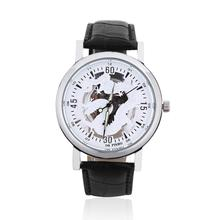 Men Women Unisex Dragon totem Round Hollow Out Dial Faux Leather Band Strap Wrist Watch Gift relogio