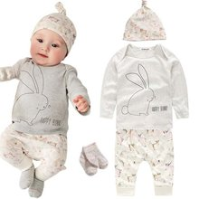 0-4Y Baby Clothes Sets 3 Pcs Kids Cartoon Long Sleeve Clothes Set Bunny Pattern Top+Pants+Hat