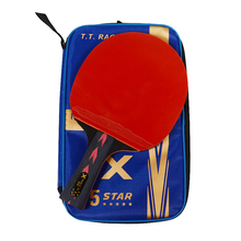 Huieson 5 Star Black & Red Carbon Fiber Table Tennis Racket Double Pimples-in Rubber Pingpong Racket for Teenager Players(China)