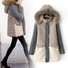 New EuropeanWomen's Long Thick Cotton Code coat outerwear Splicing Fur collar knitting sleeve Warm Hooded Ladies down jacket