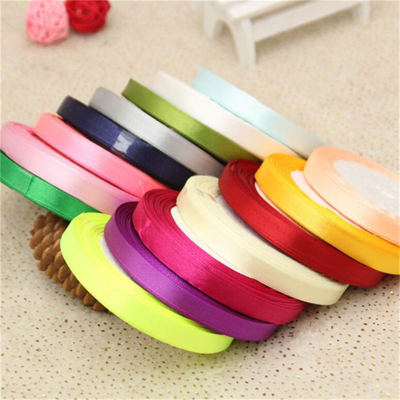 5PcsLot Wedding Party Decoration 22M 10mm Silk Satin Ribbon Crafts Gifts Wrapping Apparel Sewing Fabric Accessories Supplies