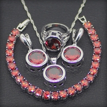 Round 925 Sterling Silver Red Garnet Jewelry Sets For Women Earrings/Rings/Pendant/Necklace/Bracelets Free Gift Box