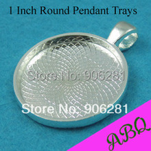 1 Inch Round Pendant Tray, 25mm Cabochon Setting, Silver Plated Pendant Blanks, Blank Cameo Settings