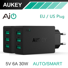 AUKEY 5V/6A Universal Travel USB Charger Adapter EU US Plug Wall Mobile Phone Smart Charger for Samsung Galaxy s8 iPhone Charger(China)