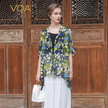 VOA 2017 Summer Silk Chiffon Floral Print Thin Coat Comfort Plus Size 5XL Casual Basic Long Bohemian Women Cardigan B7083(China)