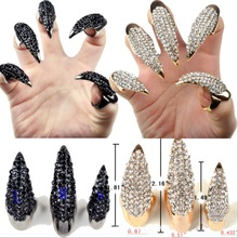 1PC Crystal Finger Nail Ring Fashion Punk Style Claw Paw Talon Finger Thumb Rings Gold and Black Color 3 Sizes Halloween Gift