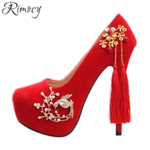 Rimocy Chines wind red wedding shoes woman thin high heels comfortable platform pumps women crystal fringe party shoes sandals(China)